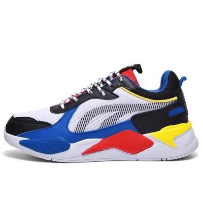 高品質の男性の靴カジュアルスニーカーサファイアメッシュメンズ靴快適な通気性のレースアップChaussureオムビッグ Blue sneakers 10