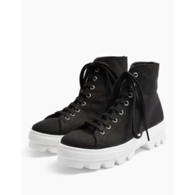 トップショップ レディース スニーカー シューズ Topshop canvas high top sneakers in black Black