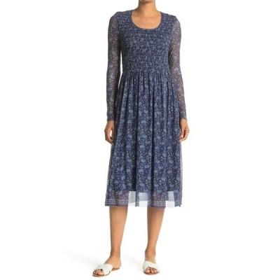 マックスタジオ レディース ワンピース トップス Printed Overlay Dress NVBLSMGD-NAVY/BLUE SMALL GRAPHIC DAFFODIL
