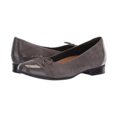 Clarks クラークス レディース 女性用 シューズ 靴 フラット Un Blush Cap - Grey Suede/Patent Leather Combination
