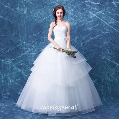 ウエディングドレス 花嫁 ドレス 二次会 ウェディングドレス プリンセス 結婚式 披露宴 ブライダル ロングドレス エンパイア サッシュベルト 大きいサイズ