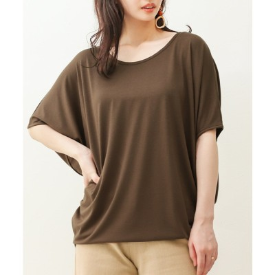 ソーシャルガール Social GIRL ワイドスリーブドルマンTシャツ (puブラウン)
