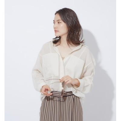 【カリテ/qualite】 シアーポケットシャツブラウス