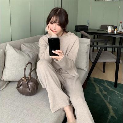 今から買い足すならこの1枚 2019 秋冬 新品 韓国ファッション 減齢 長袖 カジュアル フード付き ウール バーカー+ワイドパンツ 2点セット