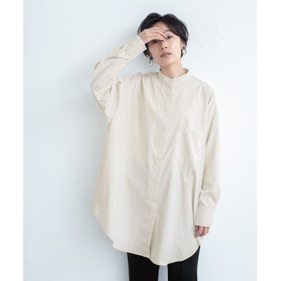 【ミエット】 バンドカラーバックタックシャツ レディース アイボリー F miette