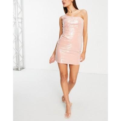 クラブエル ロンドン Club L London レディース ワンピース ワンピース・ドレス pale pink sequin one shoulder mini dress in pale pink ペールピンク