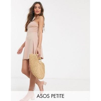エイソス ミディドレス レディース ASOS DESIGN Petite mini square neck sundress with cup seams in nude エイソス ASOS ベージュ