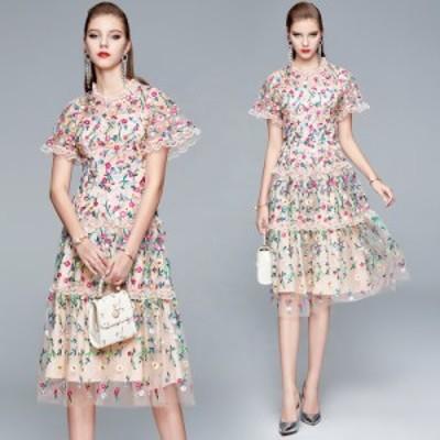刺繍 ワンピース ドレスワンピース インポートドレス ひざ丈 インポートワンピース パーティー ワンピ 上品華やか お出かけ デート