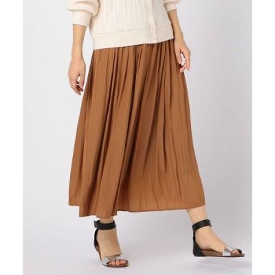 スカート クラッシュサテンロングスカート