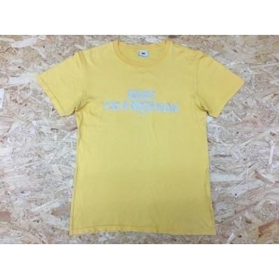TMT ティーエムティー Sサイズ メンズ Tシャツ 『BABY I'M RICH MAN』 フロント英字ラメプリント カットソー 半袖 丸首 イエロー 黄色