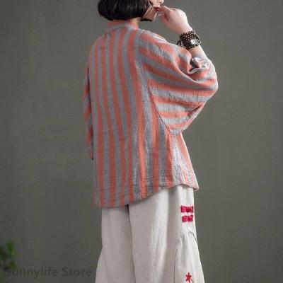 ブラウス 七分袖 ノーカラー ストライプ プルオーバー ルーズ ドルマン フェミニン マリン レディース 春夏 Good Clothes