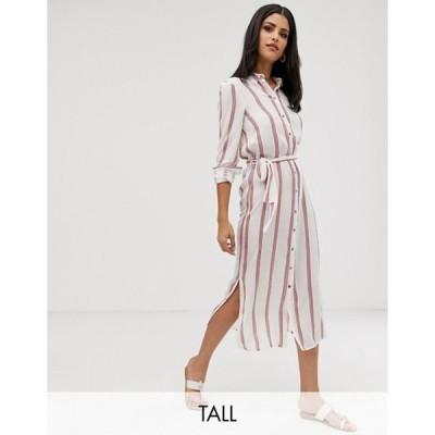 ベロモーダ レディース ワンピース トップス Vero Moda Tall stripe button through tie waist midi dress