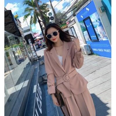 セットアップ レディース パンツスーツ ベルト付き 韓国 ファッション 大きいサイズ ジャケット パンツ ハイウエスト きれいめ フォーマ