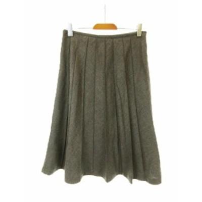 【中古】ファサードグリーン ユナイテッドアローズ facade green スカート プリーツ ミモレ ロング ウール 38 グレー