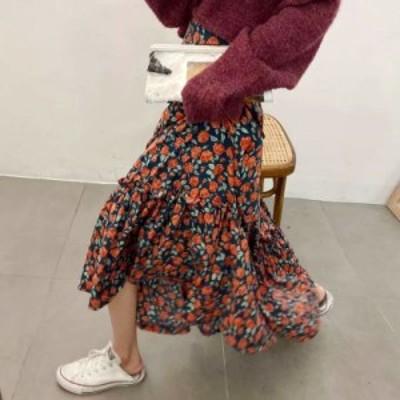 花柄 ティアード マキシスカート フリル ロング カジュアル フェミニン ハイウエスト CUTE aya2086
