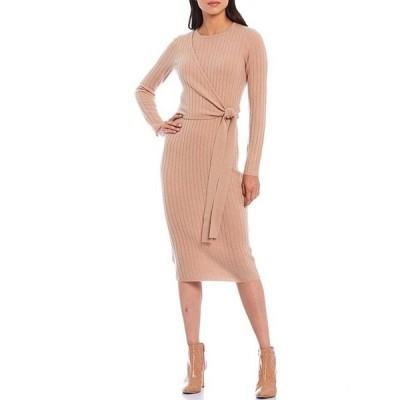 アントニオ メラーニ レディース ワンピース トップス Luxury Collection Sabine Cashmere Faux Side-Wrap Long Sleeve Midi Dress