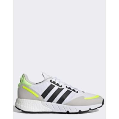 アディダス レディース スニーカー シューズ adidas Originals ZX 1K boost sneakers in white with yellow details White