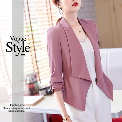 2F韓衣-時尚翻領皺摺袖口造型西裝外套-3色(M-XL)