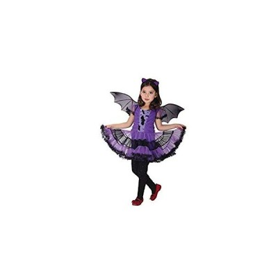 Kazumiya 子供ハロウィン 仮装 キッズ コスチューム 女の子 ワンピース コウモリコスプレ ヘアバンド付き 三点セット (150?)