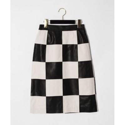 GRACE CONTINENTAL/グレースコンチネンタル 市松レザースカート ホワイト 36