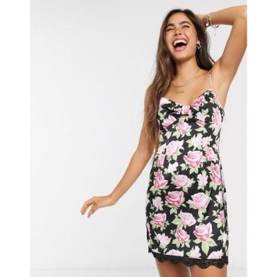 スカイラーローズ ミニドレス レディース Skylar Rose mini slip dress with tie front in vintage rose floral エイソス ASOS ブラック 黒