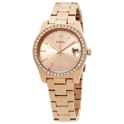 フォッシル 腕時計 Fossil Wmn Scarlette Three-Hand Date Rose Gold-Tone Stainless Steel Watch ES4318