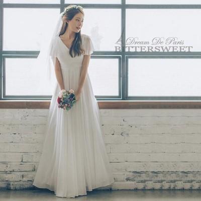 ウェディングドレス フレア袖 ウエディングドレス ワンピース スレンダータイプAライン ロング 編み上げタイプ 結婚式【S〜XL】【wd141】