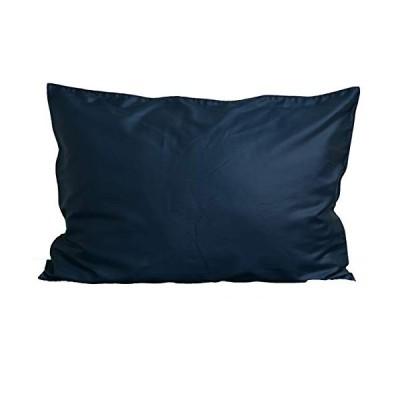 枕カバー ( 50×70cm枕用 インディゴネイビー ) 日本製 コットン100% 高級サテン 超長綿 80番手 330本高密度生地 ダニ通過0% 毛玉