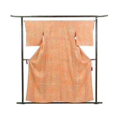 リサイクル着物 小紋 正絹オレンジ地袷小紋着物