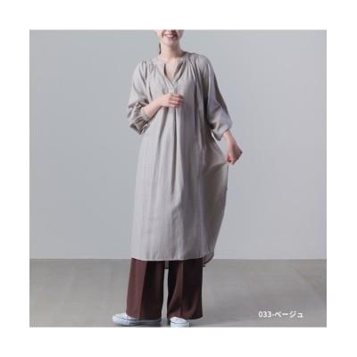 【アールエムストア】 製品洗い 綿麻レーヨンギャザーチュニックシャツワンピース 2020新作 レディース ベージュ フリー RM STORE
