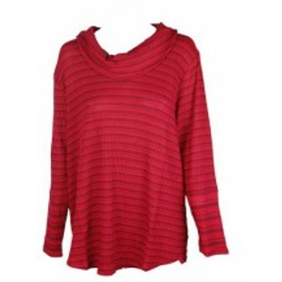 Red  ファッション トップス Style & Co. Plus Size Red Melange Neck Jumper Top 2x