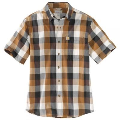 カーハート CARHARTT メンズ 半袖シャツ トップス essential plaid open collar short-sleeve shirt CARHARTT BRN
