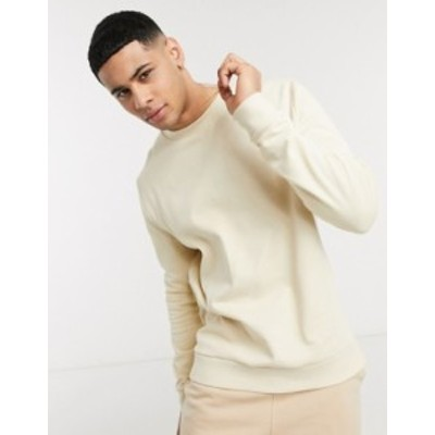 エイソス メンズ シャツ トップス ASOS DESIGN organic sweatshirt in beige with t-shirt hem Fog