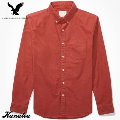 アメリカンイーグル オックスフォードシャツ 長袖 メンズ 無地 ボタンダウンシャツ カジュアル レッド 大きいサイズあり