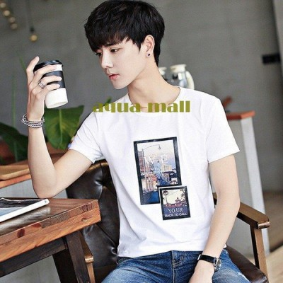 半袖Tシャツ メンズ ロングTシャツ クルーネックトップス プリントTシャツ カットソー 写真 おしゃれ