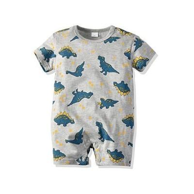 YINFOON 夏 ベビー服 男の子 半袖ロンパース 男の子 肩ボタン 恐竜柄 コットン 赤ちゃん服 肌着 柔らかい 新生児服 出産祝い 9