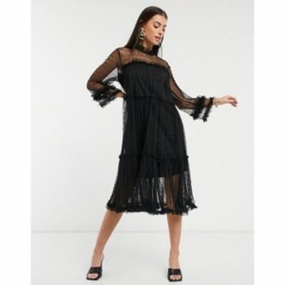 ワイ エー エス Y.A.S レディース ワンピース ワンピース・ドレス Sheer Smock Dress With High Neck And Ruffle Trims ブラック