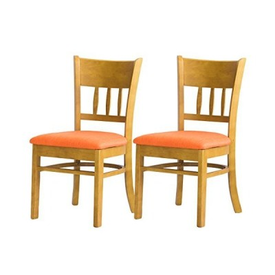 クロシオ メイ 2脚組 ダイニングチェア ファブリックオレンジ 布地 木製椅子 004236