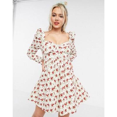 エイソス ASOS DESIGN レディース ワンピース ビスチェ ベビードール ワンピース・ドレス bustier mini babydoll dress in floral print