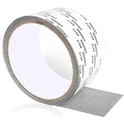 Mauknci 網戸補修テープ 網戸パッチ グレー 5x200cm サイズ自由にカット ガラス繊維メッシュ 網戸の破れ修理 粘着式 穴の開いた網戸補修シート