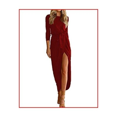 【新品】Women's Summer Casual 3/4 Sleeve Crossover Split Maxi Dresses with Belt Wine Red M【並行輸入品】