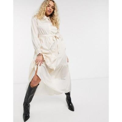 オブジェクト ミディドレス レディース Object satin maxi shirt dress with tie waist in cream エイソス ASOS