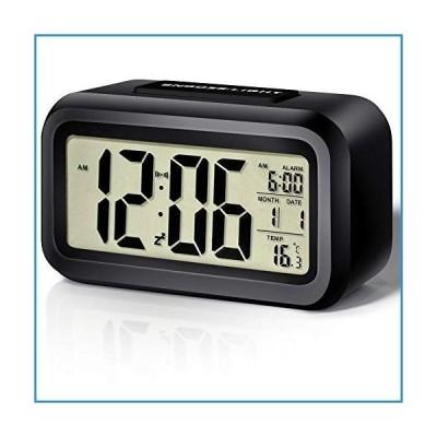 新品電池式目覚まし時計 寝室用 スマートナイトライト デジタル目覚まし時計 室内温度付き 日付 簡単
