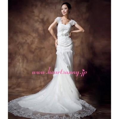 ウェディングドレス フレンチ袖 花柄レース ロングトレーン E261