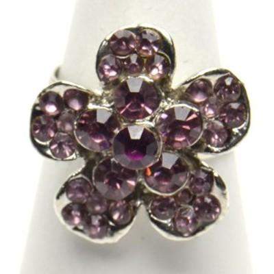 豪華 フラワーデザイン ラインストーン リング フリーサイズ 指輪 レディース アクセサリー p30-ri553