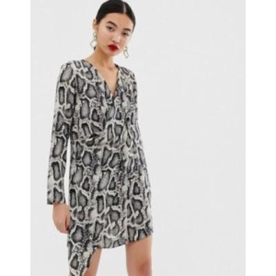 リバーアイランド レディース ワンピース トップス River Island swing dress in snake print Gray light print