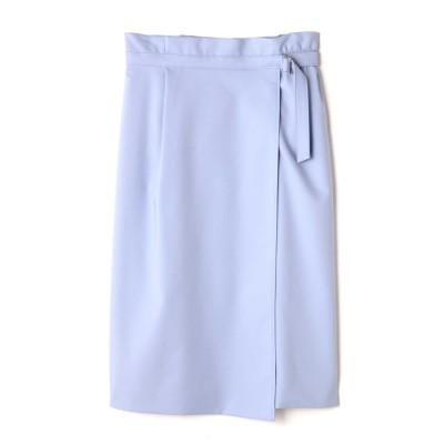 アシンメトリーラップタイトスカート ブルー