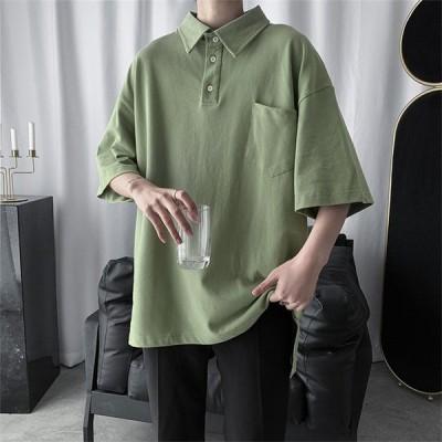 メンズ  ポロシャツ 半袖 Tシャツ パーカー 春夏秋 カジュアル 無地 折り襟 男子 トップス