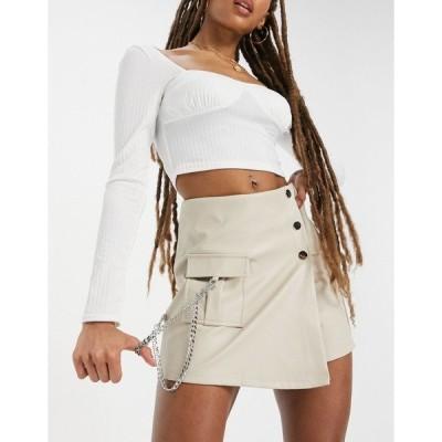 クチュールクラブ レディース スカート ボトムス The Couture Club asymmetric buckle detail mini skirt in white White