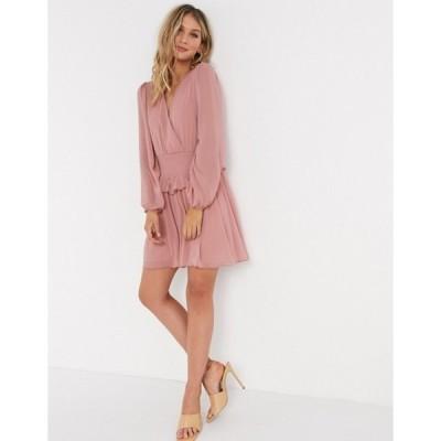 エイソス レディース ワンピース トップス ASOS DESIGN wrap front shirred waist mini skater dress in dusky pink